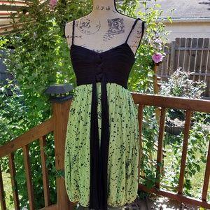 Green Black Tube Floral Bubble Dress Cocktail